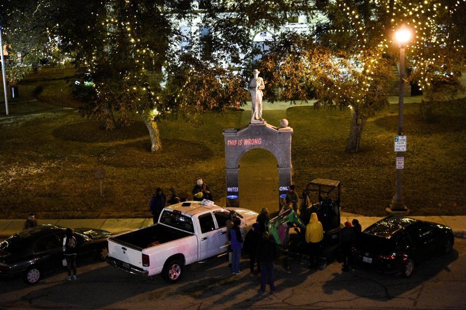 Artist provokes controversy over Confederate monument on Denton Square