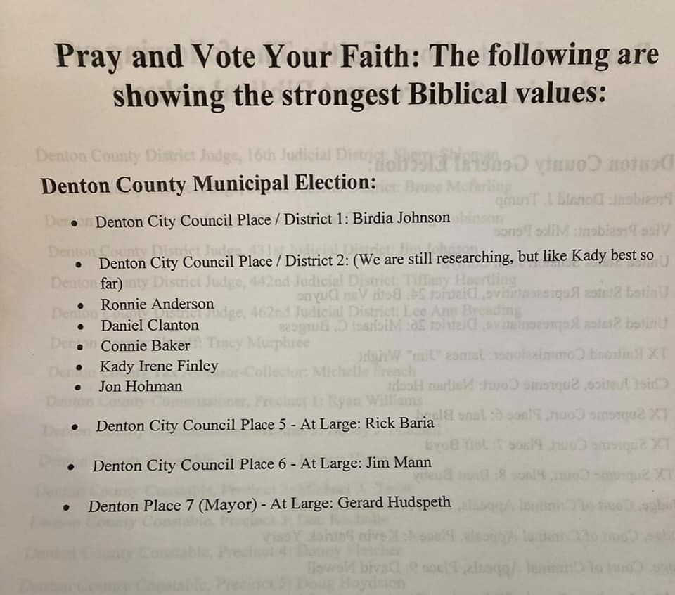 Denton Bible Church endorsements