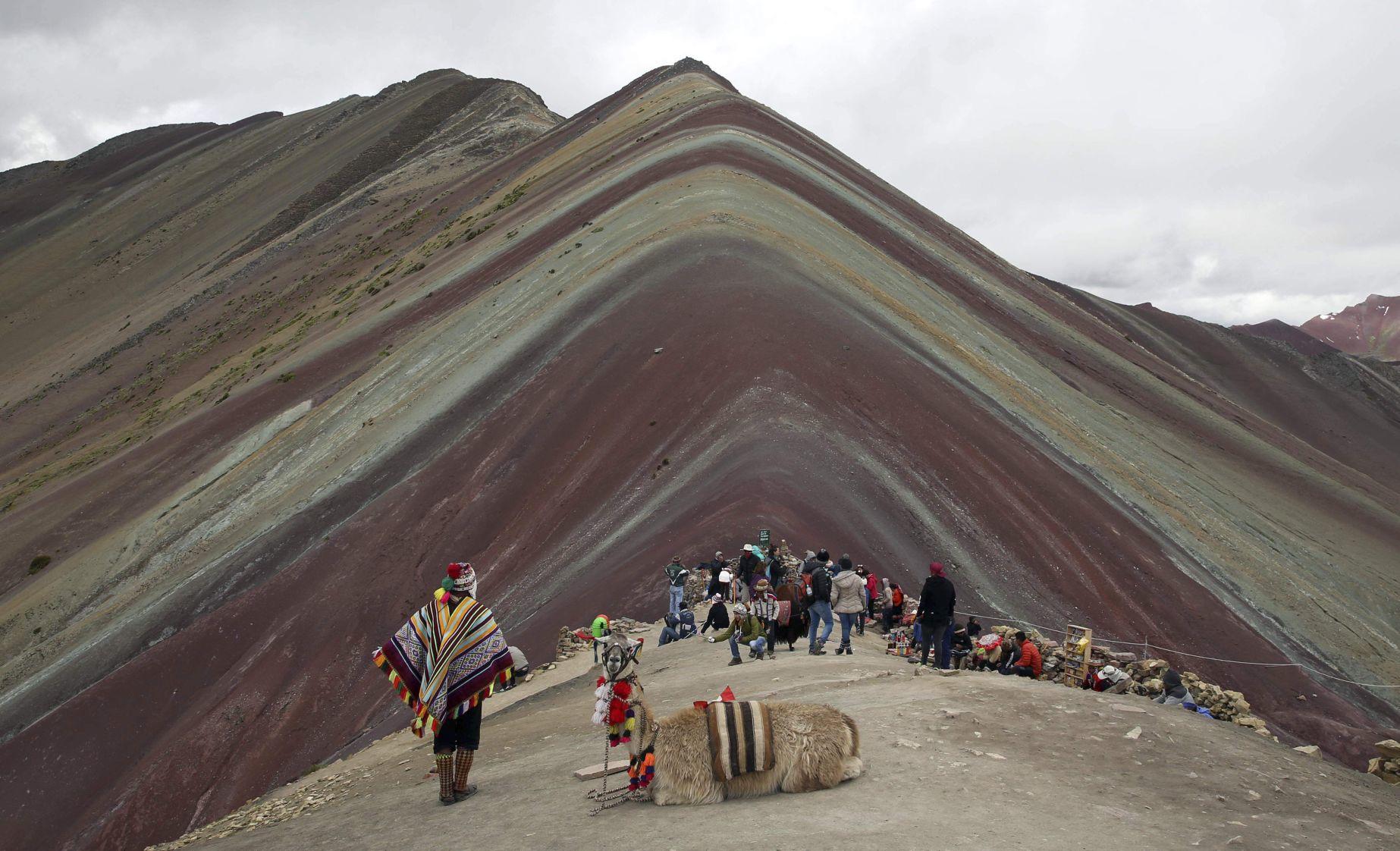 APTOPIX Peru Rainbow Mountain Tourists flocking to