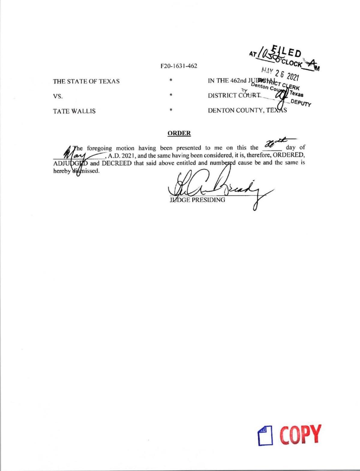 Wallis charges dismissed