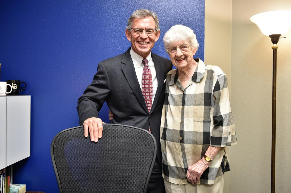 Bettye Myers in November 2018, with Gary Henderson