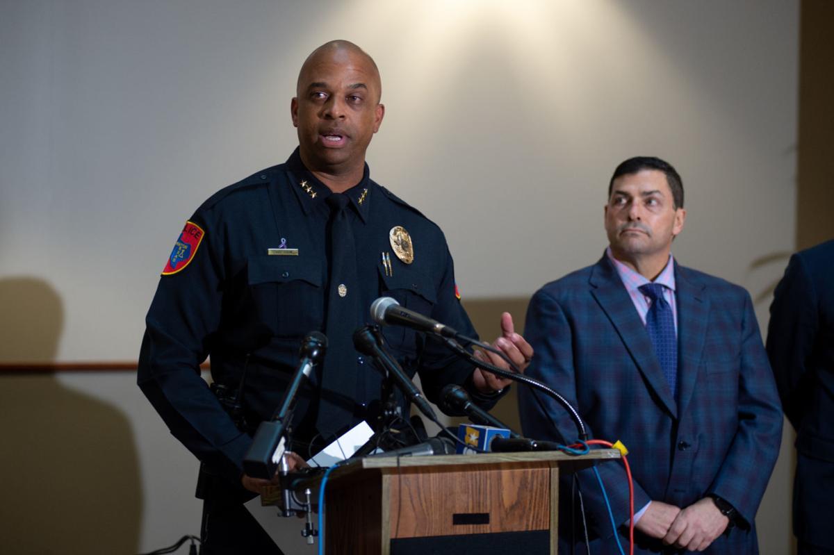 Denton Police Chief Frank Dixon at press conference