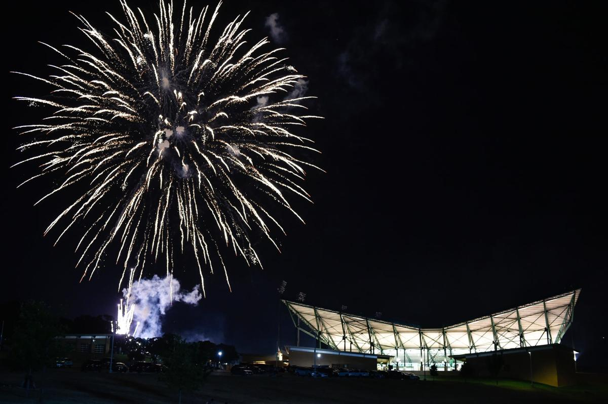 Fireworks outside the stadium
