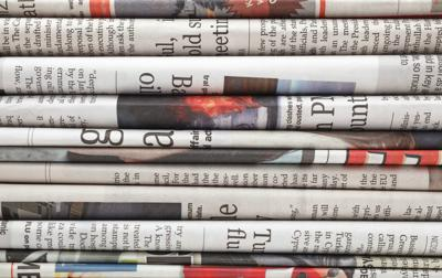 A stack of newspapers