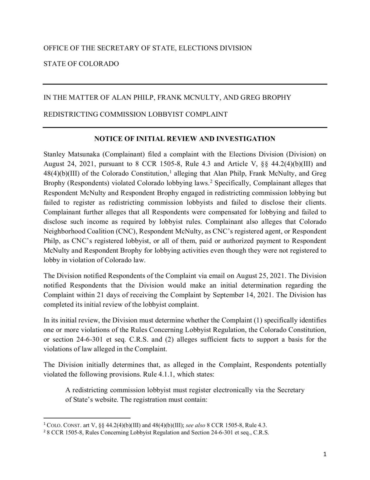 Redistricting lobbying investigation: Notice of Initial Review and Investigation