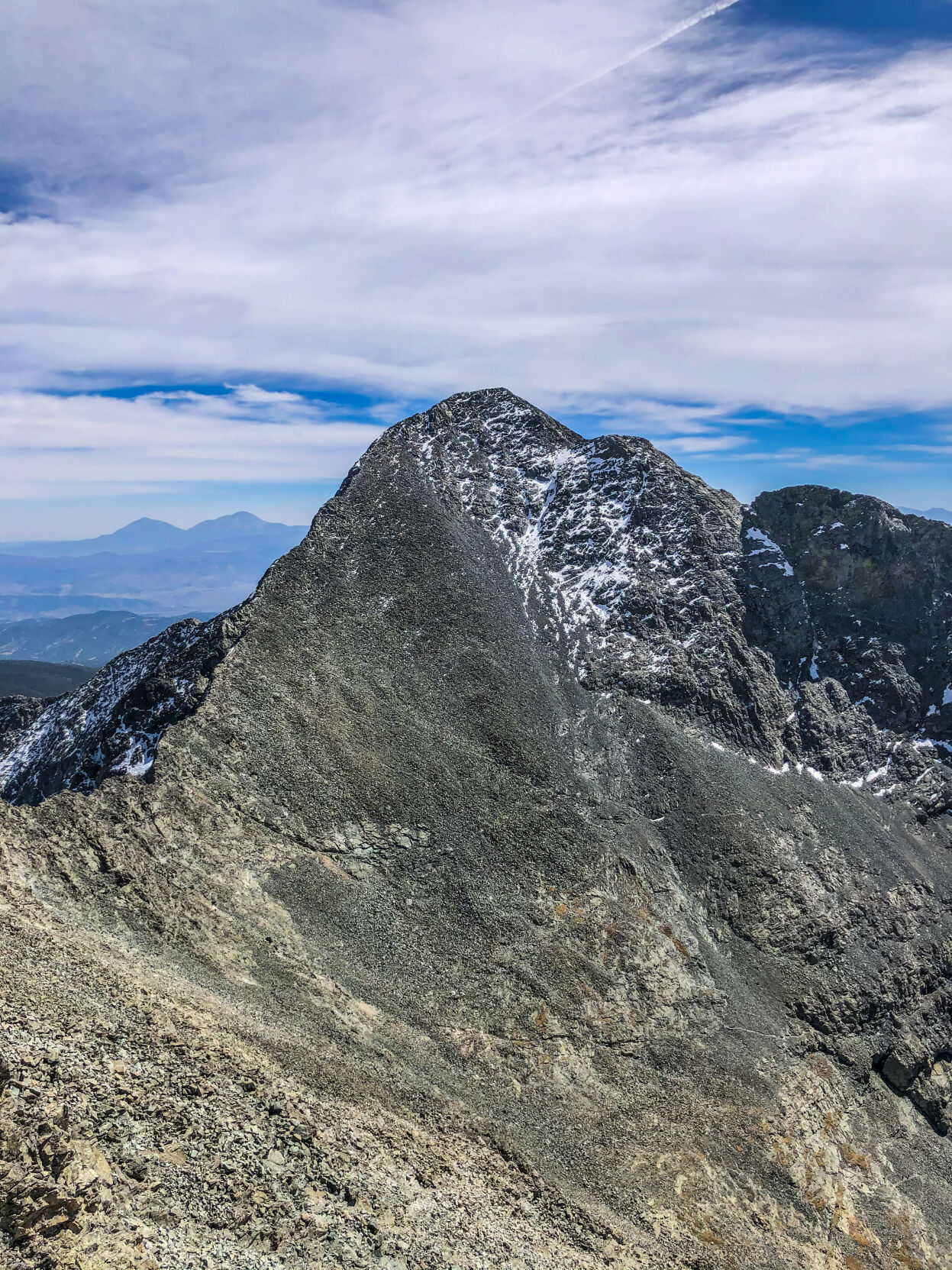 This photo shows Blanca Peak from Ellingwood Point. The route typically used to summit Blanca Peak is along the left-most ridge leading to the summit. Photo Credit: Spencer McKee.