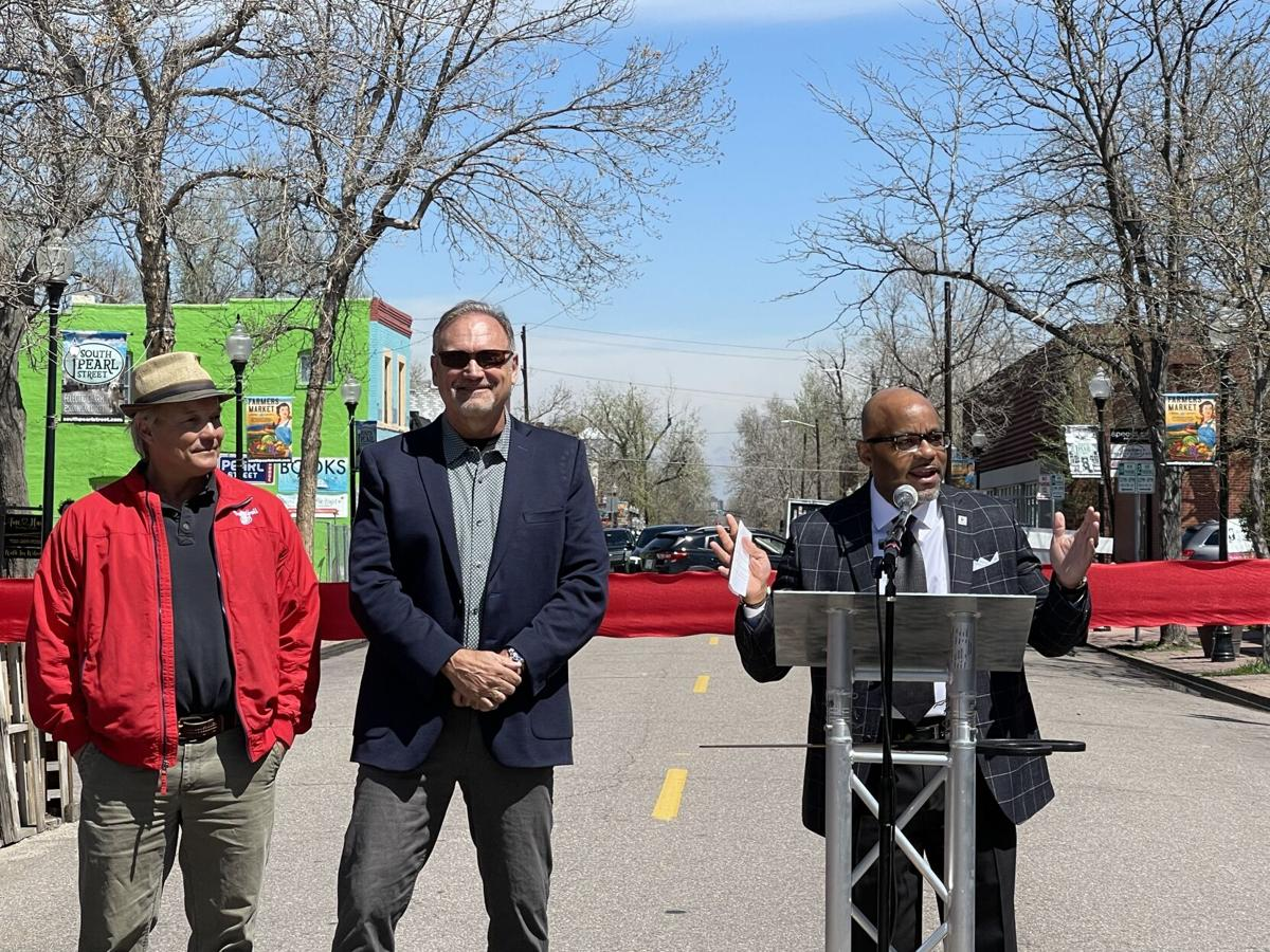 Mayor Hancock speaks to crowd at Ribbing Cutting ceremony