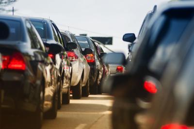 traffic jam on narrow street (copy) cars denver