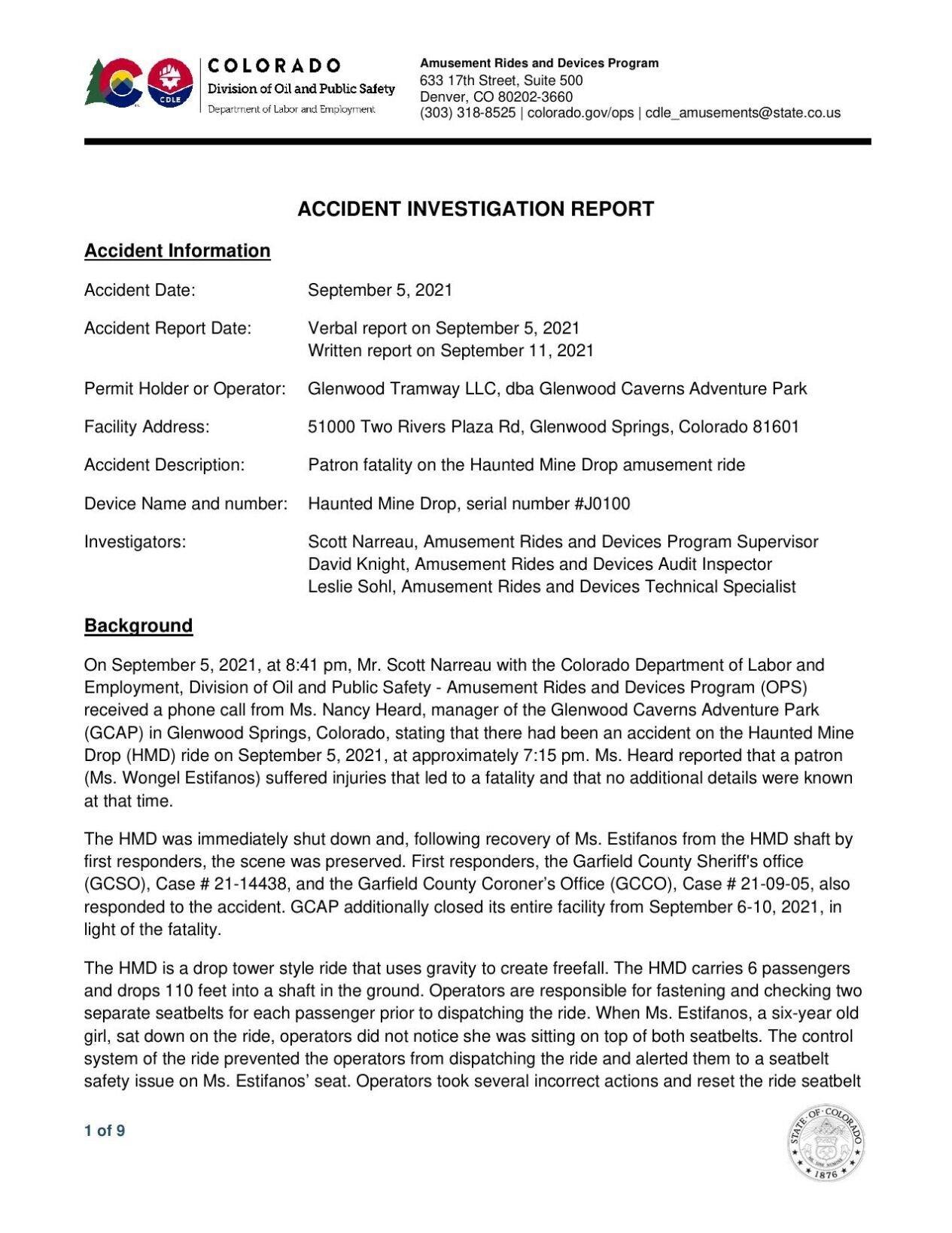 Glenwood caverns accident investigation report