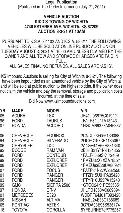 07-21-21: Vehicle Auction 8/3/21 - Kidds Towing and Recovery