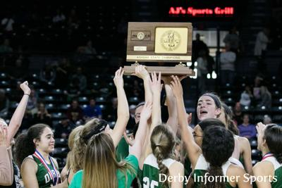 March 10 Derby basketball vs. Olathe East (team trophy)