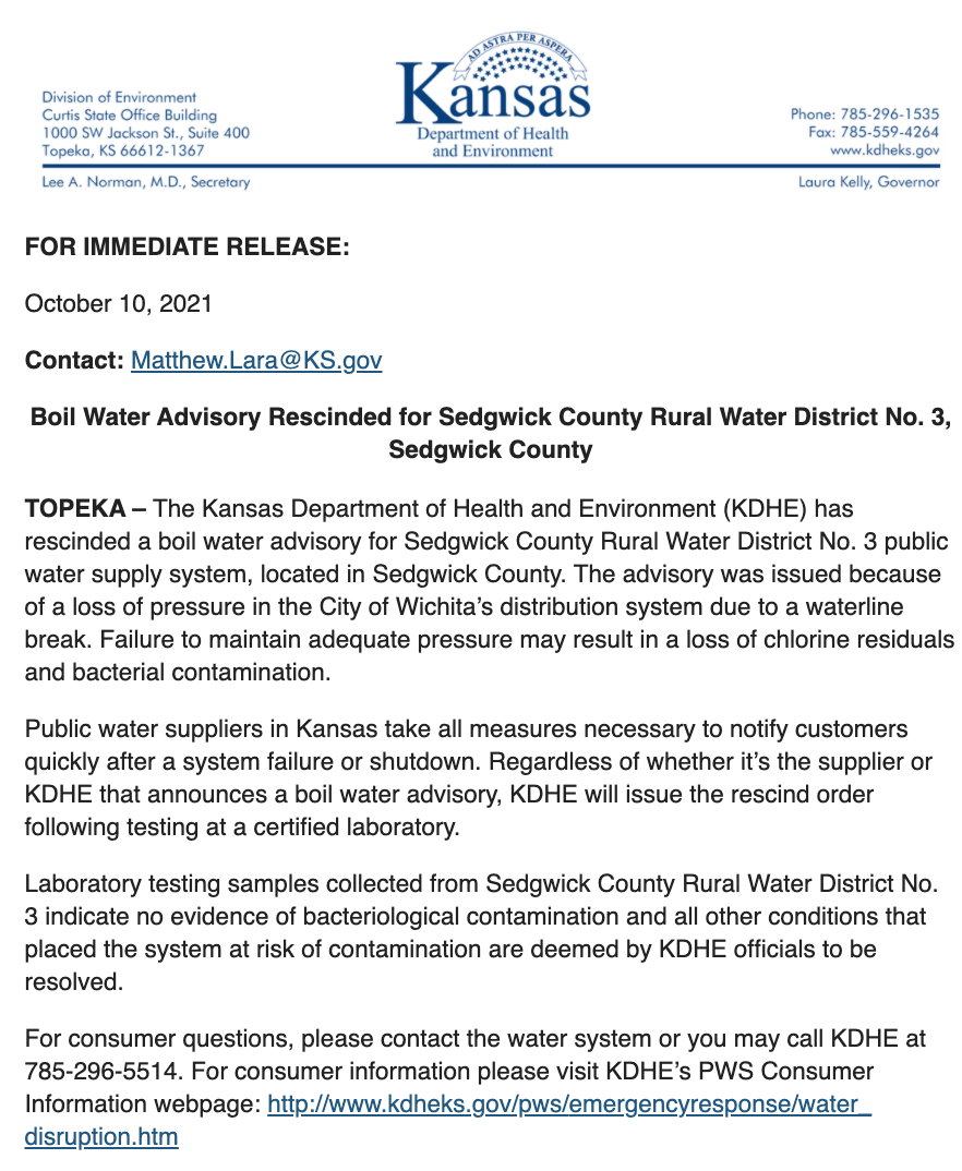 RWD3 Water Advisory Rescinded