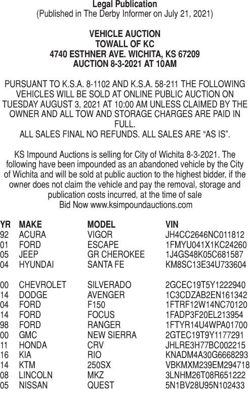 07-21-21: Vehicle Auction 8/3/21 - Towall of KC