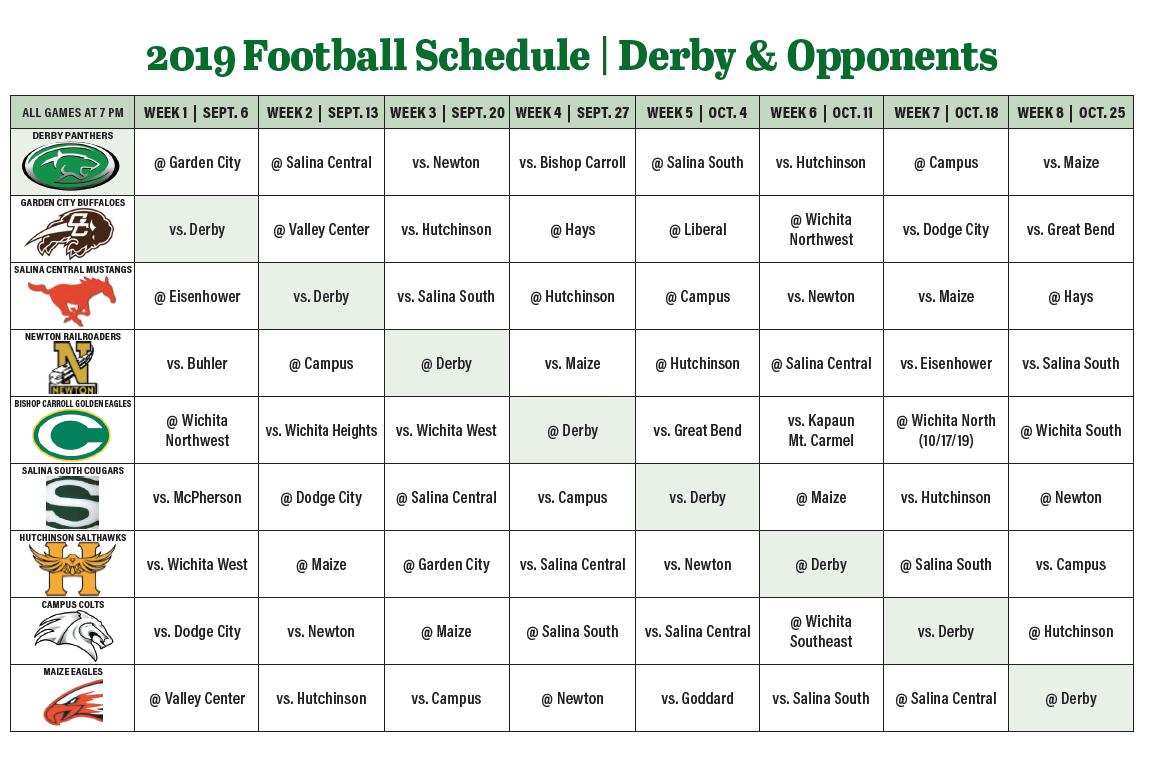 2019 Derby & opponent football schedule