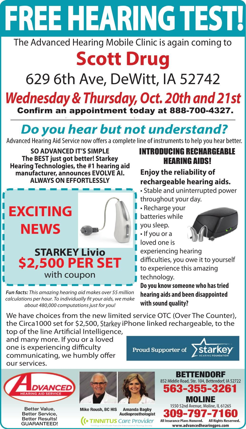 The Advanced Hearing Mobile Clinic is again coming to