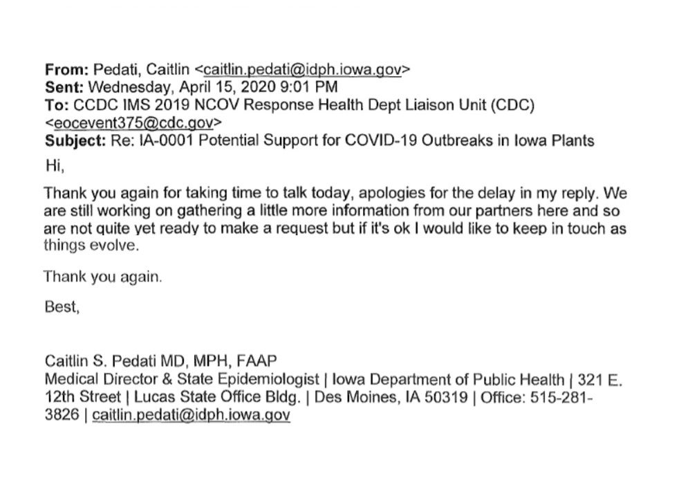 Email from Dr. Caitlyn Pedati to the CDC