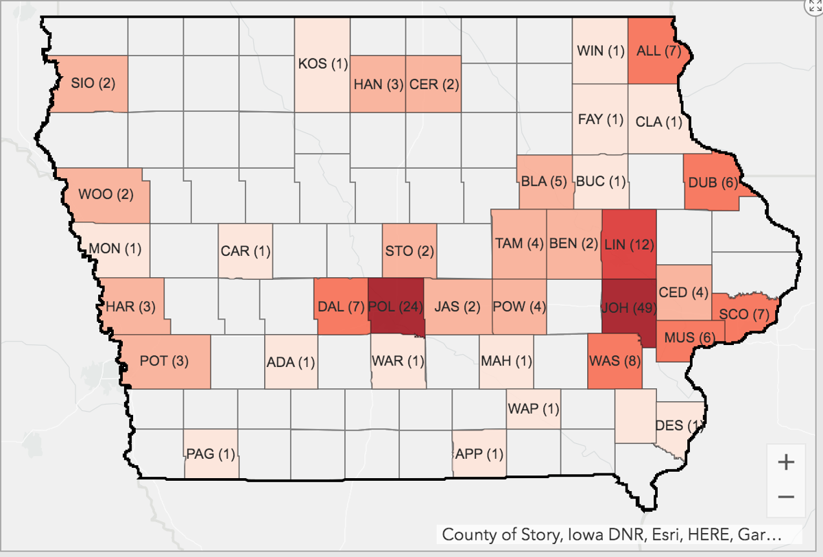 Iowa COVID-19 cases by county March 26, 2020