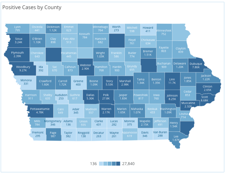 Iowa COVID-19 case information by county in Iowa reported Monday, Nov. 16, as of 10 a.m. by the Iowa Department of Public Health.