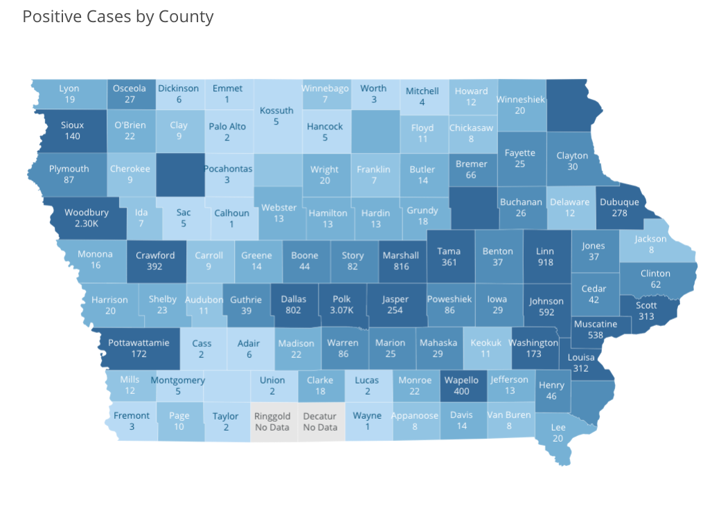 Iowa COVID-19 case information by county in Iowa reported Monday, May 18, by the Iowa Department of Public Health.
