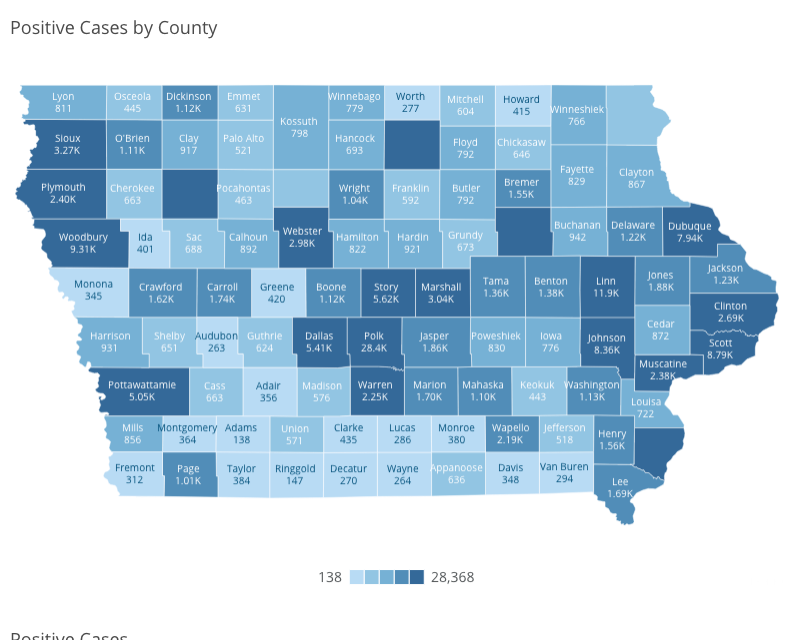 Iowa COVID-19 case information by county in Iowa reported Tuesday, Nov. 17, as of 10 a.m. by the Iowa Department of Public Health.