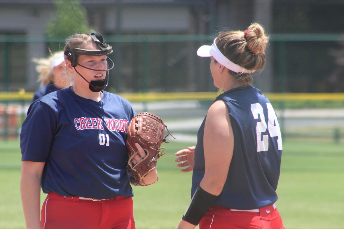 Creek Wood's Lennon Spicer and Lillie Boydston meet in the circle.JPG