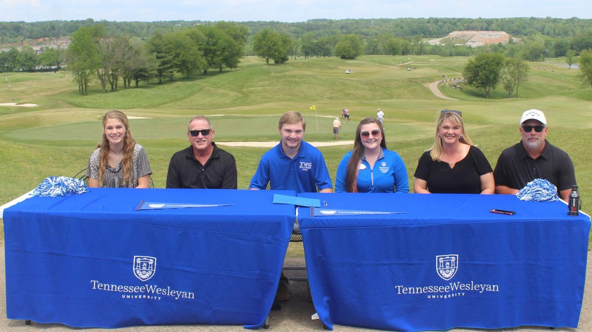 Jackson West signs his letter of intent to attend Tennessee Wesleyan as his family and friends celebrate with him. The Greystone Golf Club allowed West sign his letter there..JPG