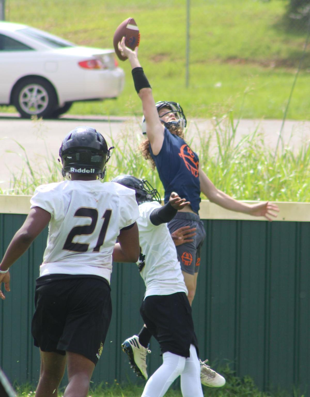 A Dickson County receiver just misses a one-handed catch in the back of the end zone.