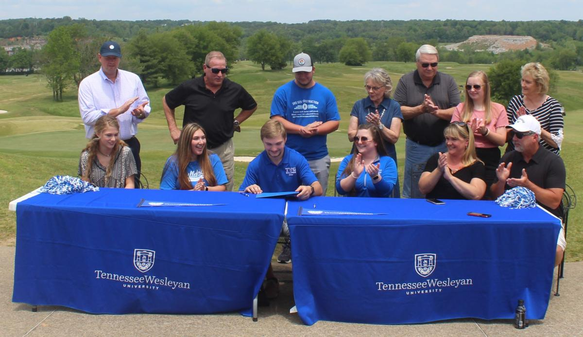 Jackson West signs his letter of intent to Tennessee Wesleyan with his family and school advisor with the Greystone Golf Club as a backdrop..JPG