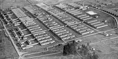 Aerial view of the former Camp Adair Hospital unit, 1940s.