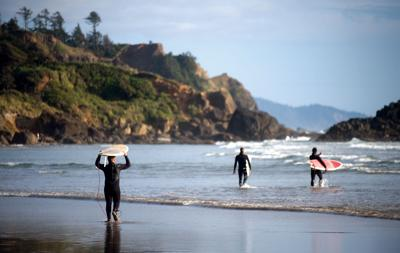 Surfing at Indian Beach at Ecola State Park