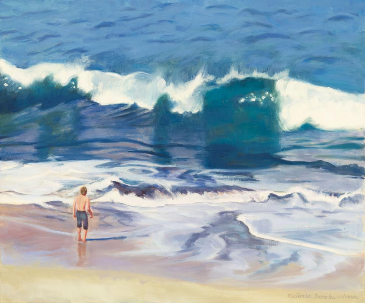 """Victoria Brooks's """"The Challenge"""" oil on linen at Fairweather Gallery"""