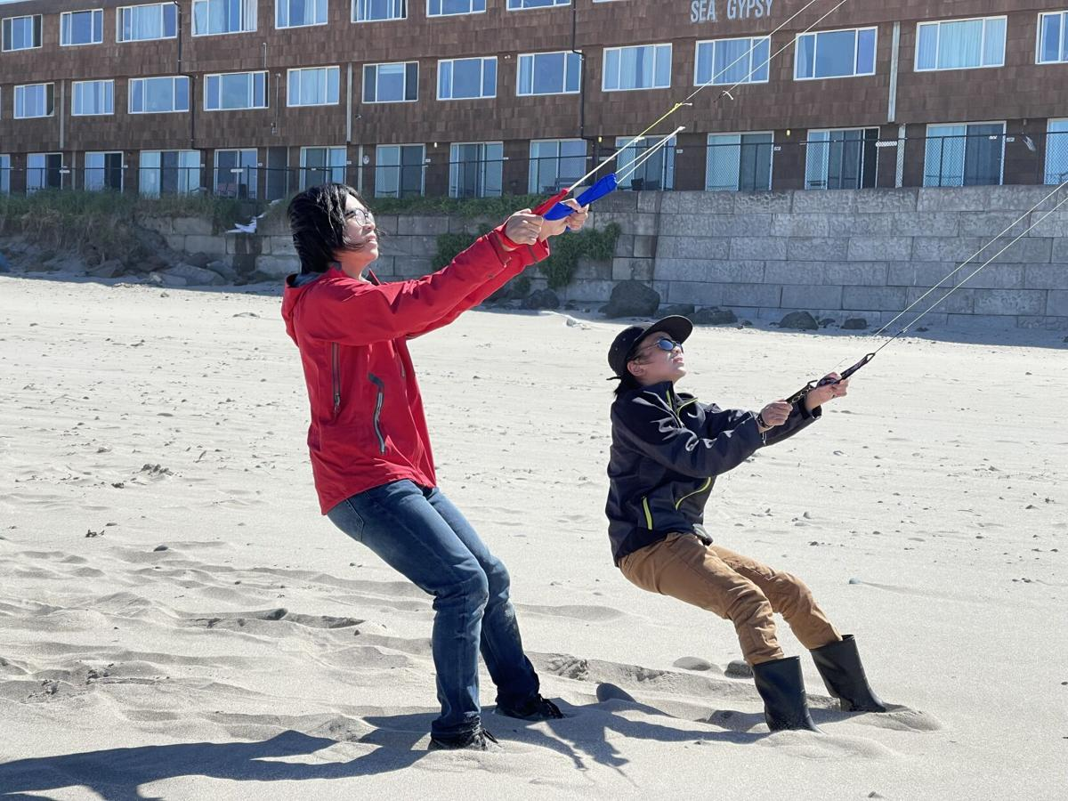 brothers flying kites