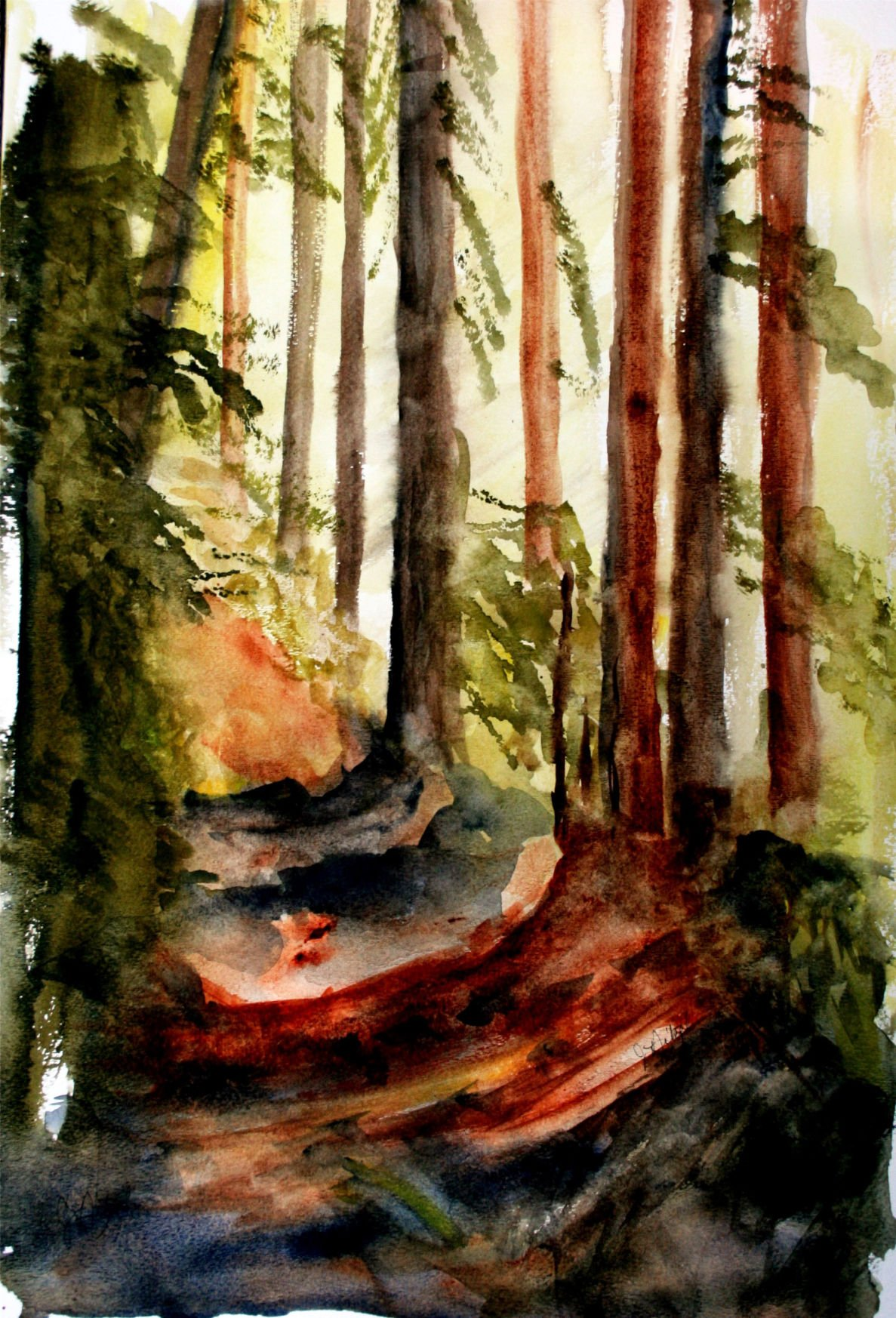 Jean Nitzel forest path painting