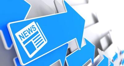 Newspaper Icon with News Title on Blue Arrow.