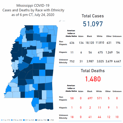 COVID-19 cases and deaths map for Mississippi
