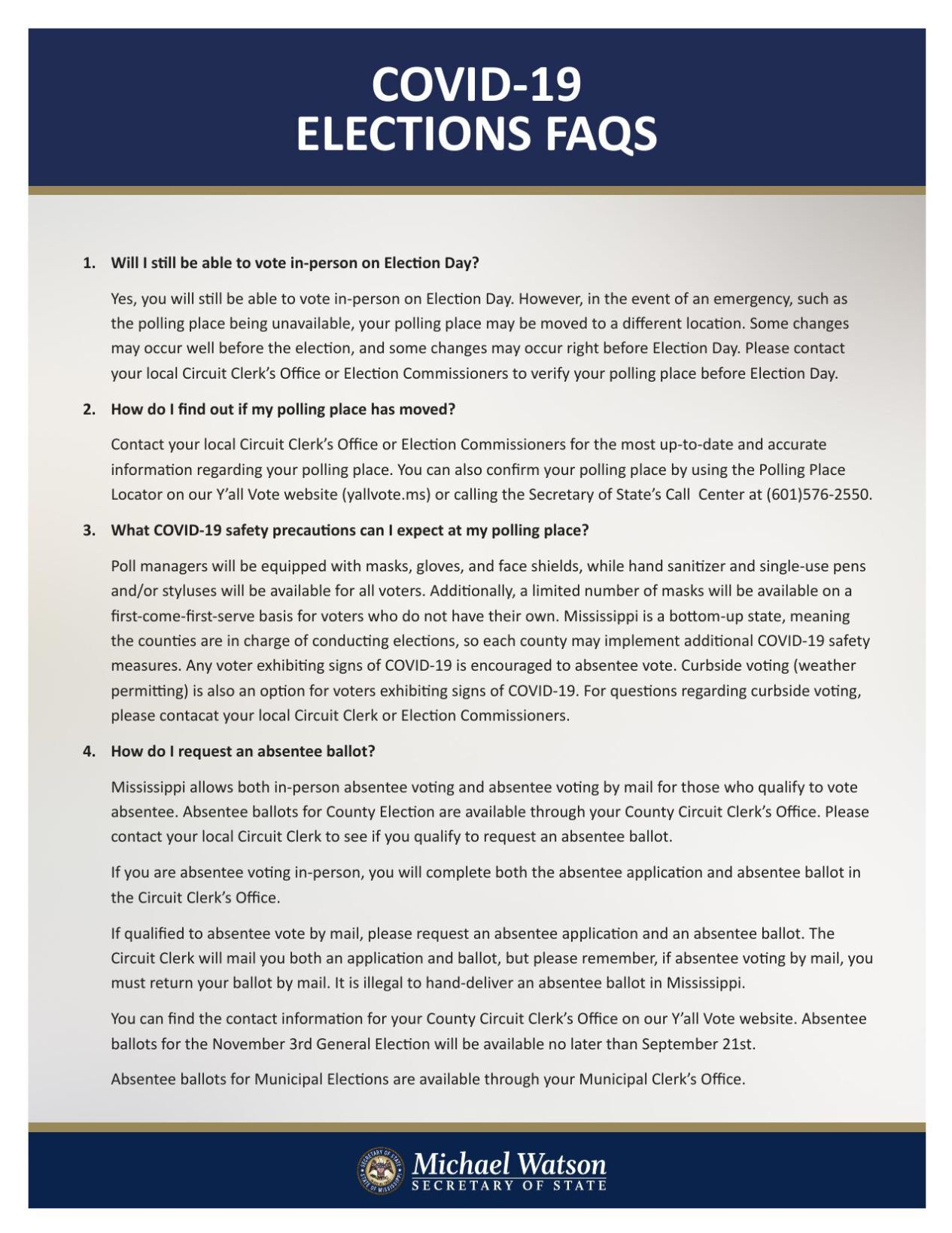 COVID-19 Election FAQs