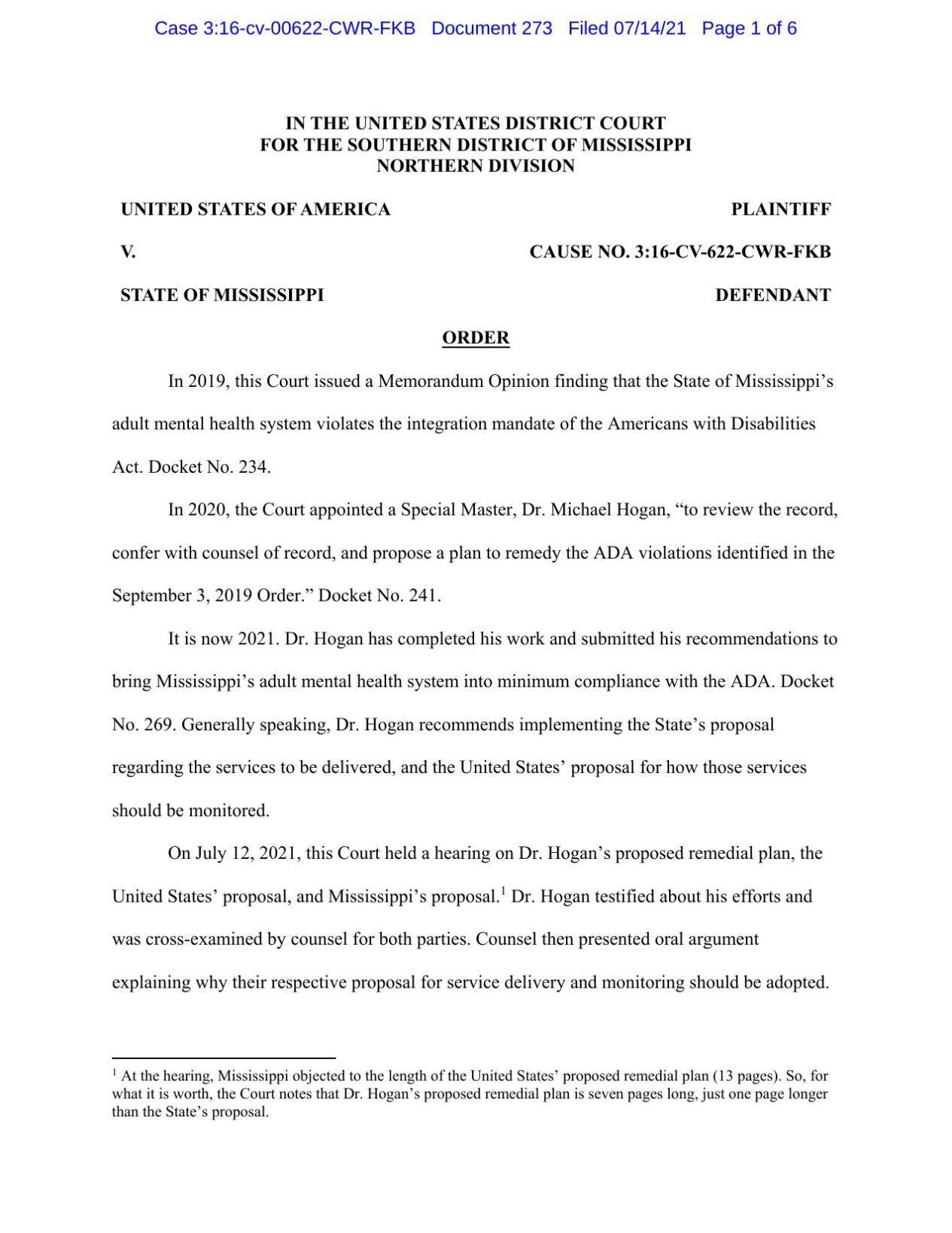 Judge Carlton Reeves' order