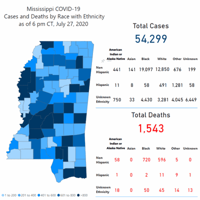 Mississippi COVID-19 Cases and Deaths map