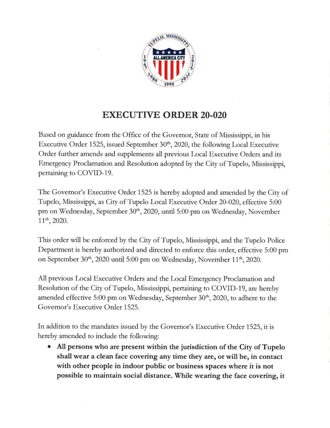 City of Tupelo's latest executive order
