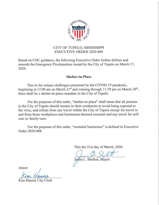 Shelton executive order 009