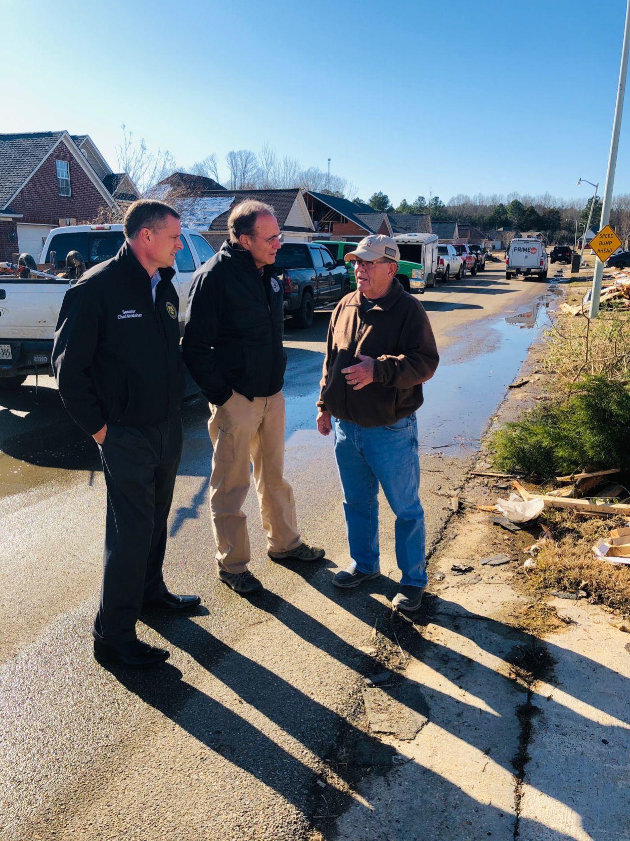 Hosemann, McMahan tour Guntown after storm damage