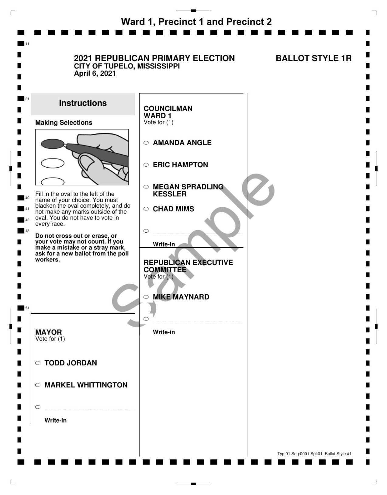 Sample ballot for Tupelo primary elections