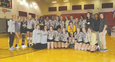Pontotoc Volleyball Team with Trophy