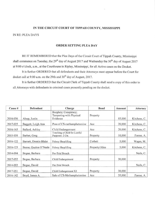 Tippah County Circuit Court Docket | | djournal com