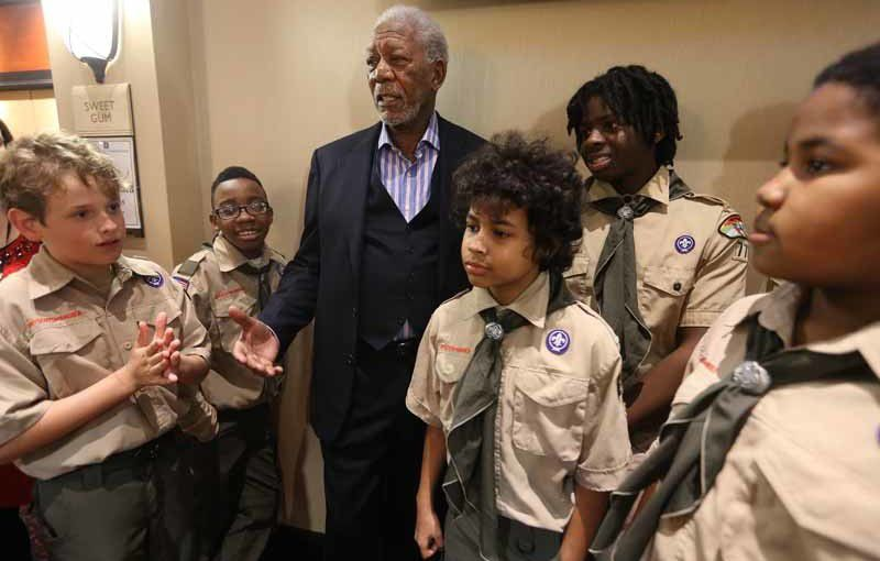 Morgan Freeman accepts Yocona Area Council's Distinguished Citizen Award