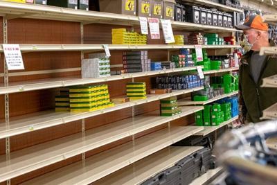 Empty shelves out of ammunition