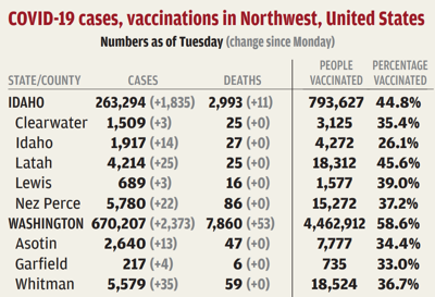 Sixty new virus cases on the Palouse