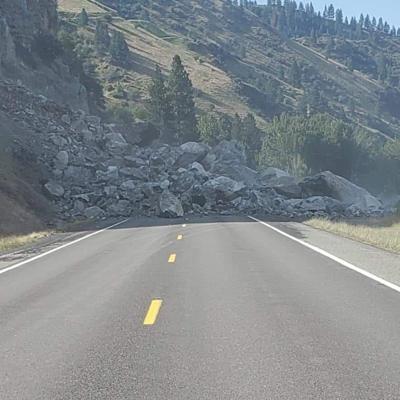 U.S. Highway 95 blocked by rock slide south of Riggins