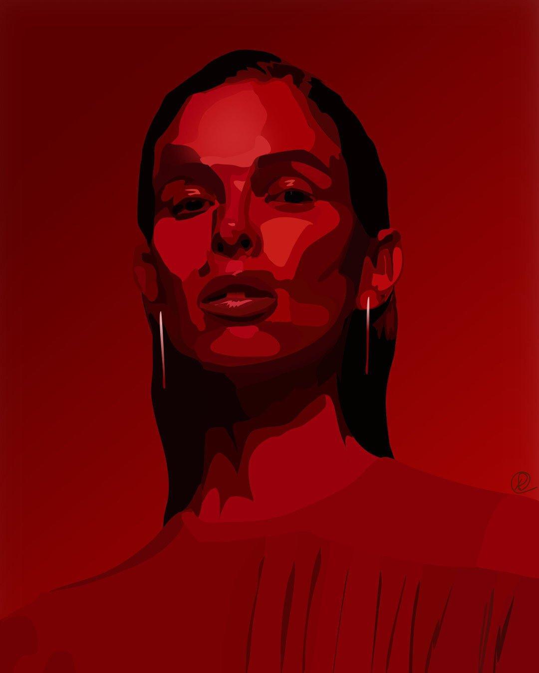red lady portrait