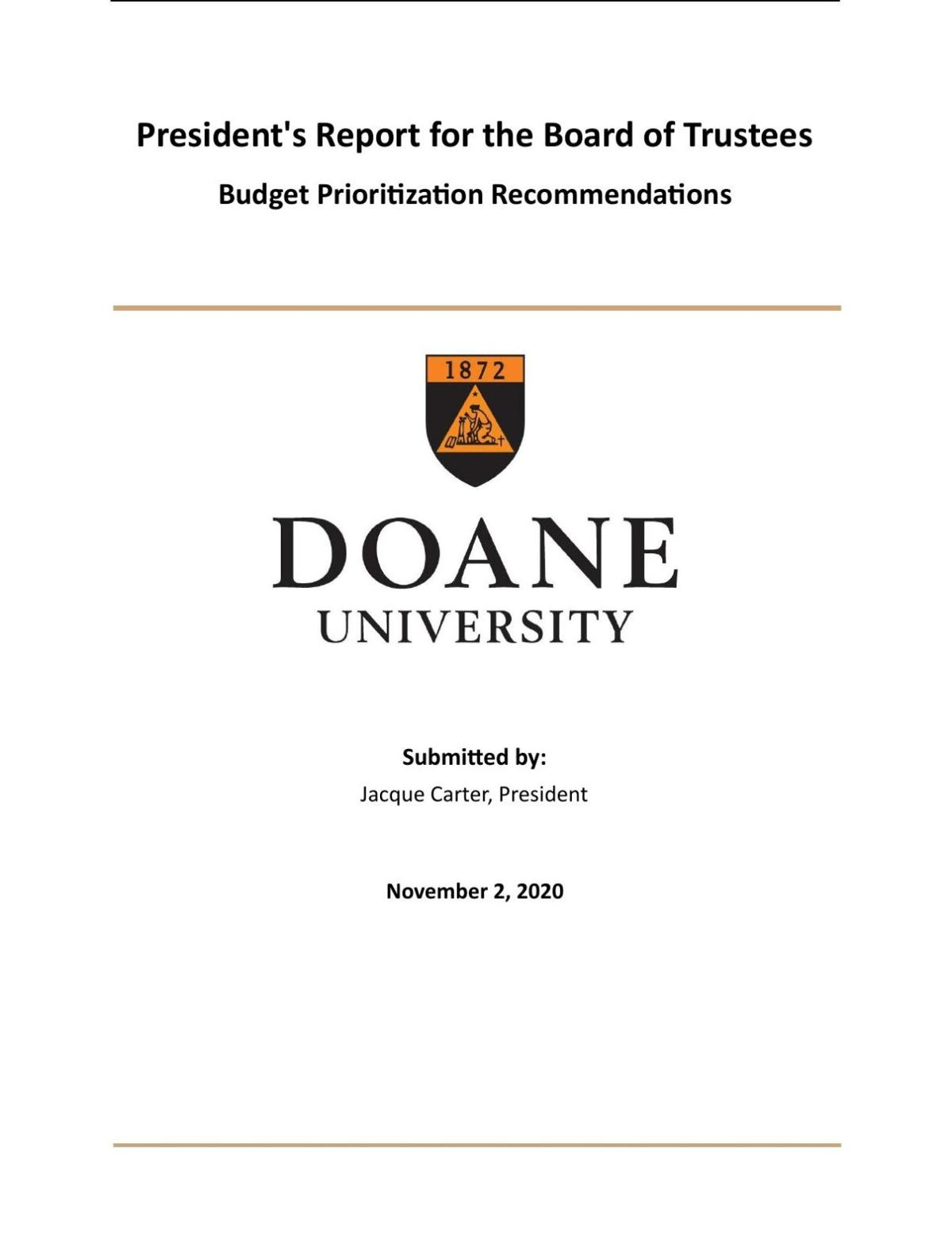 Doane Budget Prioritization Recommendations